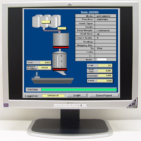 computer terminal display automation shipping load unload weigh system